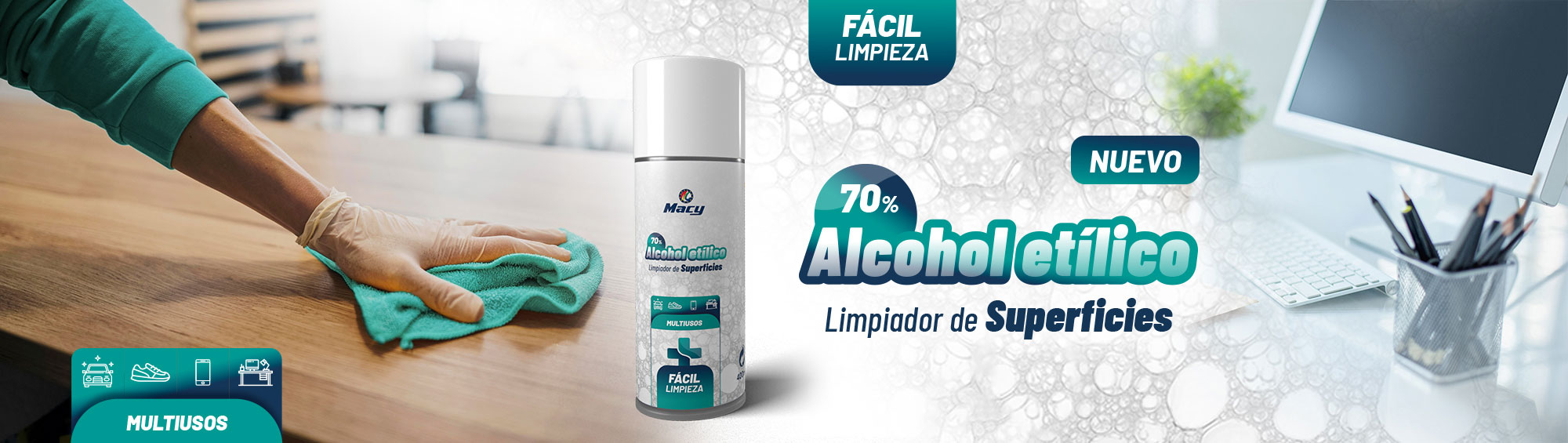LIMPIADOR DE SUPERFICIES ALCOHOL ETÍLICO 70%