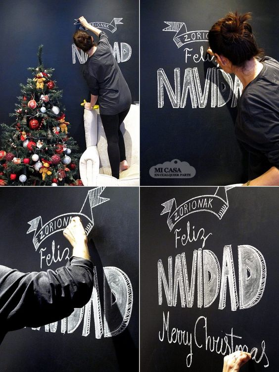 Christmas decoration with chalkboard paint
